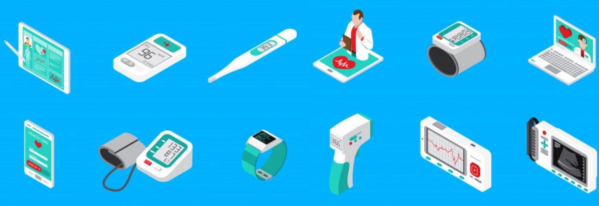 Medizinprodukte die unter die MDR fallen auf einem Tisch. Bezug zur IEC62366-2 und Usability Engineering